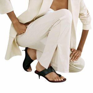 Zara Women's Ribbed Wide Leg Pants Cream Split Hem Pull On Elastic Waist Sz XL